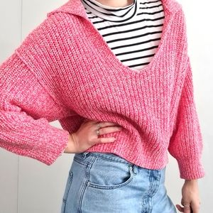 Free People pink knit sweater jumper size small open neck dropped shoulders